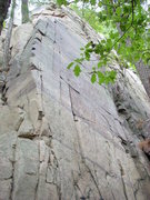 Rock Climbing Photo: goes up the smooth face using face cracks.