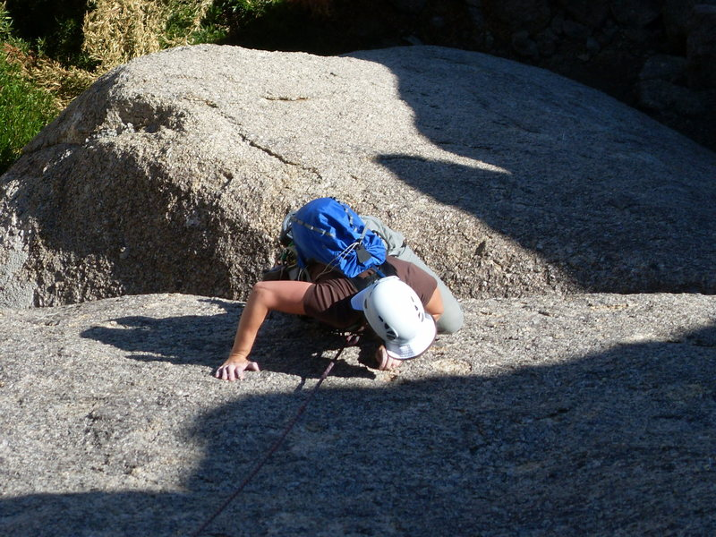 Thin slab moves make the lower section of the climb interesting.