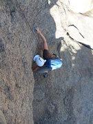 Rock Climbing Photo: Transitioning across the horizontal crack.
