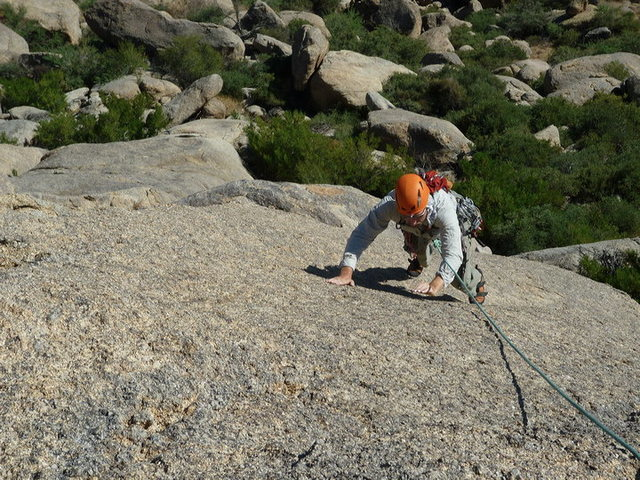 Open-handed climbing.