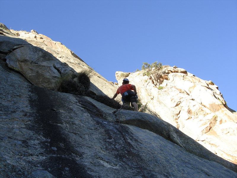 Rock Climbing Photo: Charles Vernon scoping out his options on the firs...