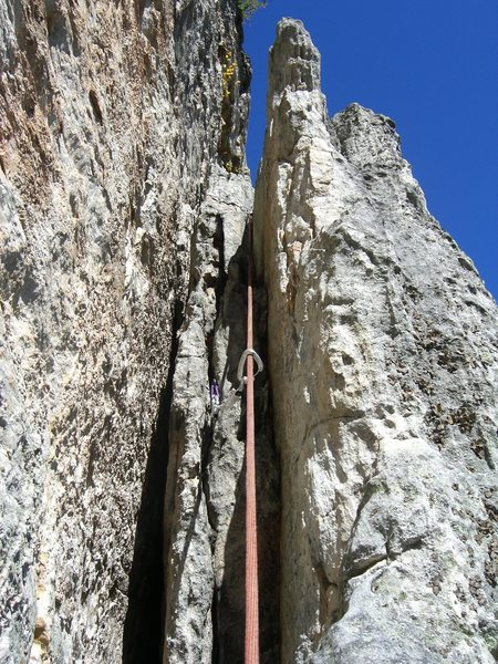 Rock Climbing Photo: The upper off width section of pitch 1.  The big g...