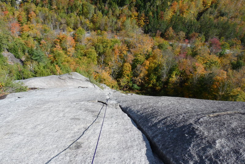 Looking down from the twin crack belay