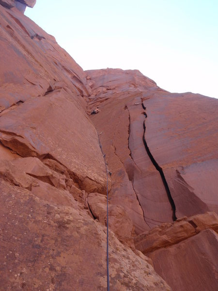 Rock Climbing Photo: Stemming out to the finger crack on Funny Farm.