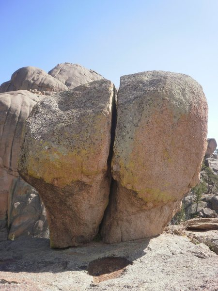Nice offwidth boulder problem on top of Helen's.  Just don't pull too hard, this thing looks like it might fall over.