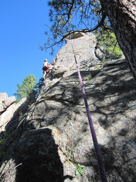 Tim Davis follows Full Nelson Reilly (5.10) on The Spire, in the SSV.  Photo by Tony Bubb 10/2010.
