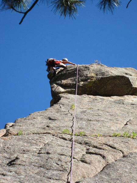 Tim Davis finishes off the bulging thin crux of Full Nelson Reilly (5.10) in the SSV. Photo by Tony B, 10/2010.
