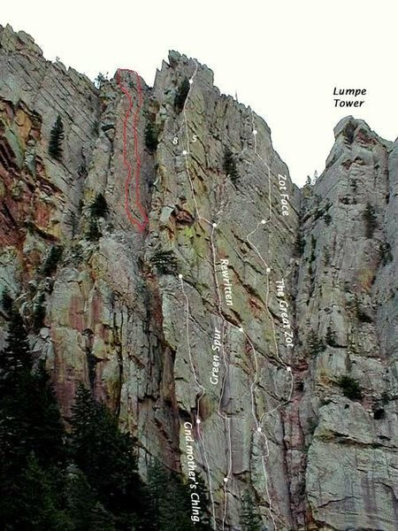 Rock Climbing Photo: Red circle marks the Green Slab. Access by going t...