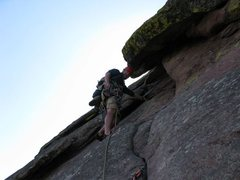 Rock Climbing Photo: Starting pitch 6.  The long hanging slot.  This pi...