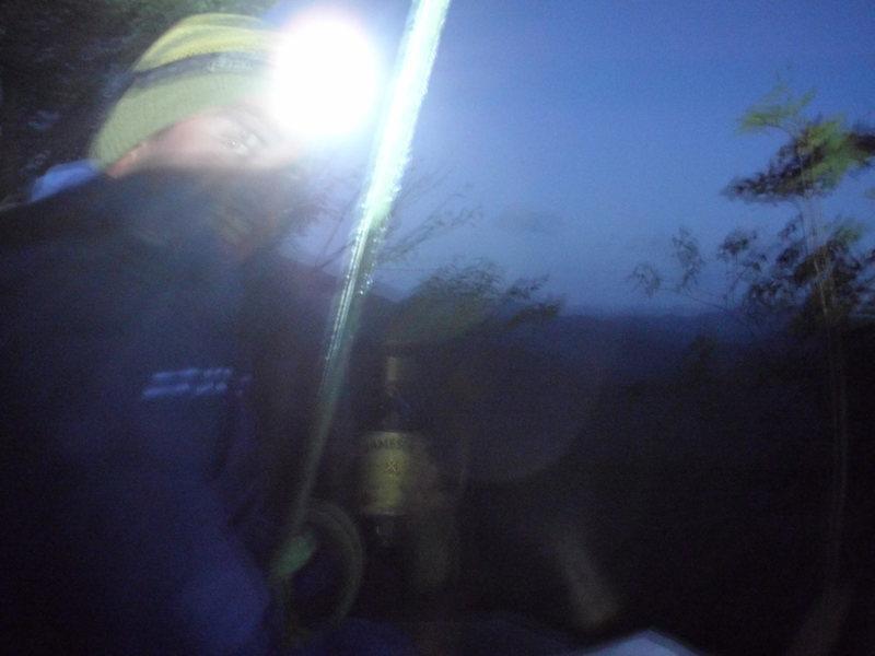 Rock Climbing Photo: A little night cap on the bivy ledge