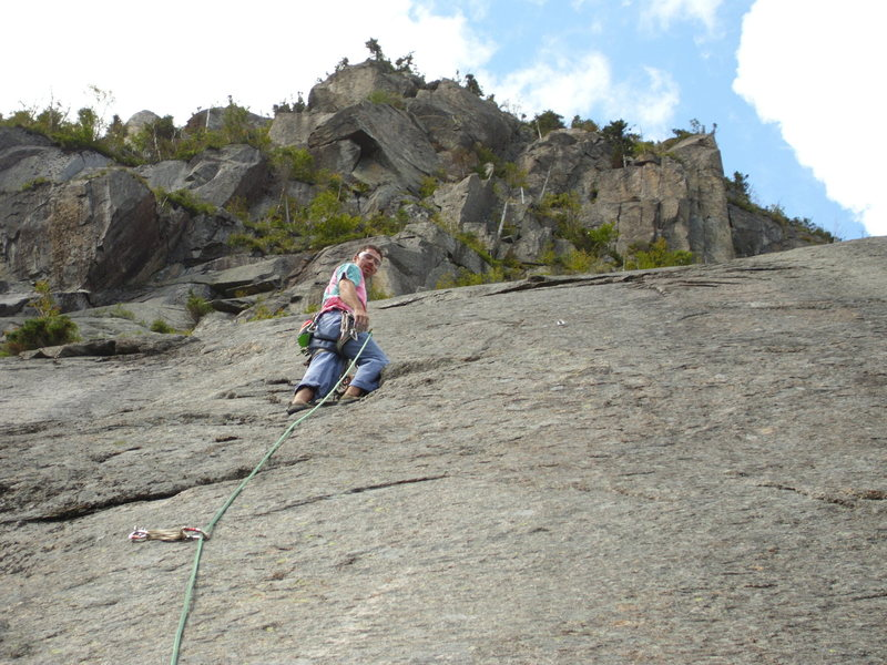 Rock Climbing Photo: Second attempt at P2. You can see the  roof above,...