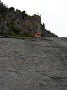 Rock Climbing Photo: drilling P2 anchors