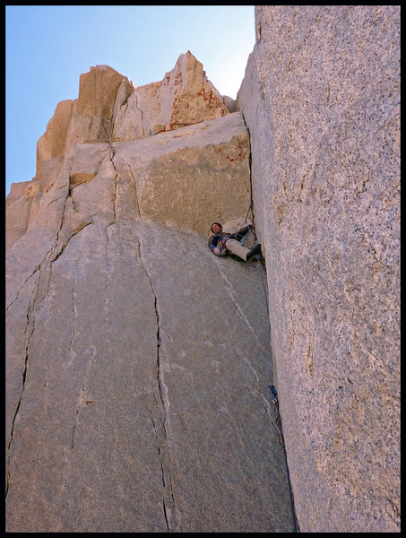 Rock Climbing Photo: David on pitch 5 of Positive Vibrations.