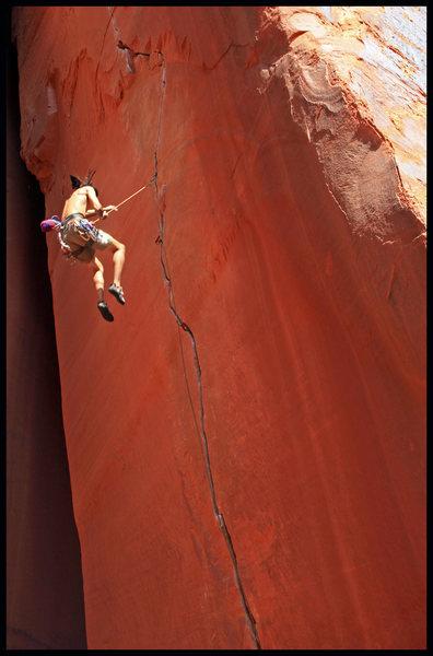 Leon getting some air time on Anunnaki.  What a fun climb!