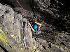 Rock Climbing Photo: Kristin, on the wide / polished p
