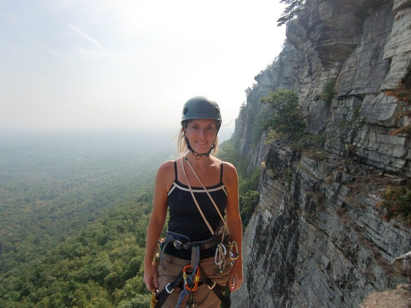 Rock Climbing Photo: Heather just finishing Directissima, start of High...