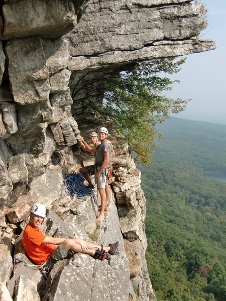 Ben, Hans and Mark Arrow at the belay for the Dangler.