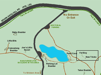 Map of pond cave, and other nearby boulders.