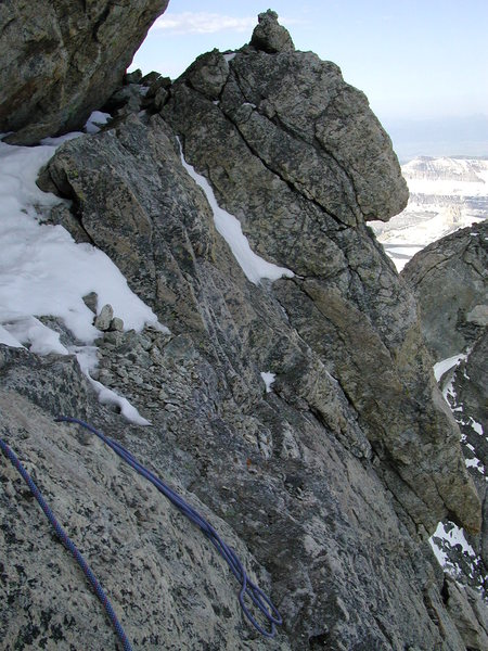 Rock Climbing Photo: Icy Belly Crawl on Owens Spaulding
