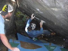 Rock Climbing Photo: The cross through.