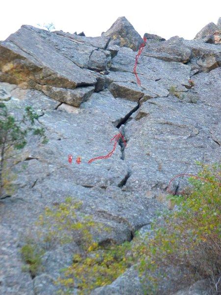 Rock Climbing Photo: P2 Var. The Lion's Face.
