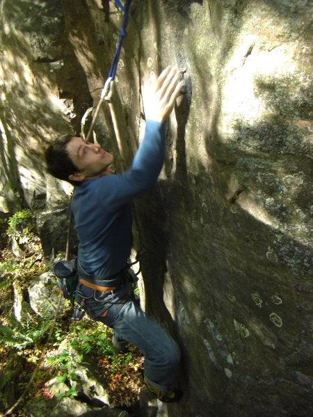 Rock Climbing Photo: The top crux.