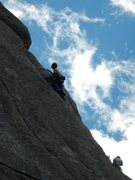 Rock Climbing Photo: Unknown climber on the nicely exposed 5.9 crack th...