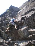 Rock Climbing Photo: Starting up P1. It ends on the ledge above.