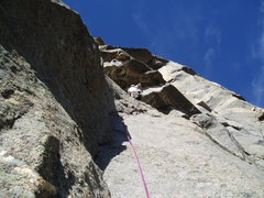 Rock Climbing Photo: Matt Seymour launching into second pitch crux unde...