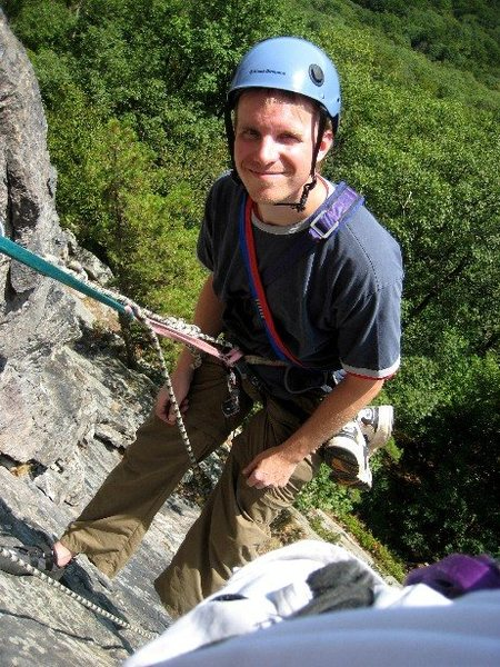Following Kerry on Hawk (5.4) at the Gunks (Trapps) 9/11/08.