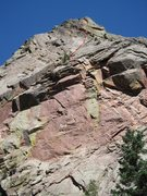 Rock Climbing Photo: Warp Riders roughly follows the red line up the up...