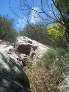 Rock Climbing Photo: Climb crack past the overhang and finish in the gr...