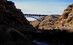 Rock Climbing Photo: The railroad bridge at the north end.