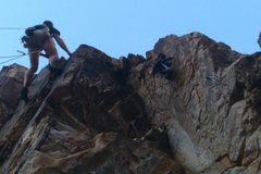 Rock Climbing Photo: Setting the final bolts through the roof exit.  I ...