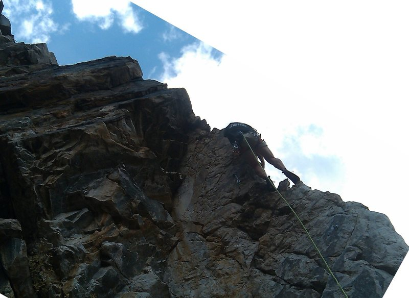 An idea of the line heading into the 2nd crux on the blunt arete.