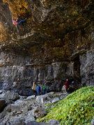 Rock Climbing Photo: Toe hooking tenacity: Ryan Angelo pulling through ...