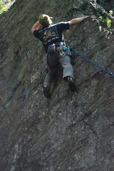 Rock Climbing Photo: Tim fighting the sun. Photo by Alyson Sewell.