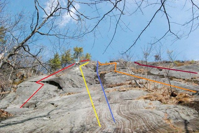 From left to right:<br> <br> Red - Pine Tree Crack 5.4<br> Yellow - Clip-a-Dee-Doo-Dah 5.3<br> Blue - The Searchers 5.3R<br> Orange - Lady and the Tramp 5.4<br> Maroon - Standard Route 5.3