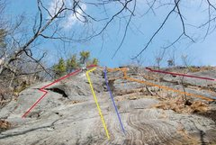 Rock Climbing Photo: From left to right:  Red - Pine Tree Crack 5.4 Yel...
