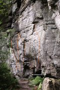Rock Climbing Photo: Red Run Wall Right Topo