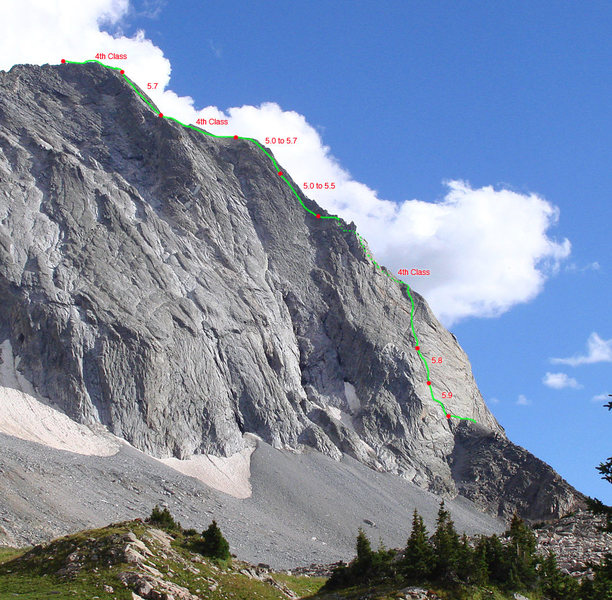 A rough topo of the route. Dawson's 14er guide has a better detailed one.