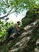 Rock Climbing Photo: James heading up along the seam