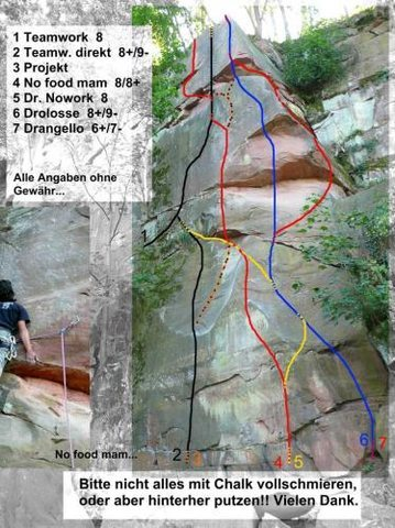 Topo of lead and top rope in Riesenstein