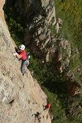 Rock Climbing Photo: Climbing Alchemy sans clipping the bolts.