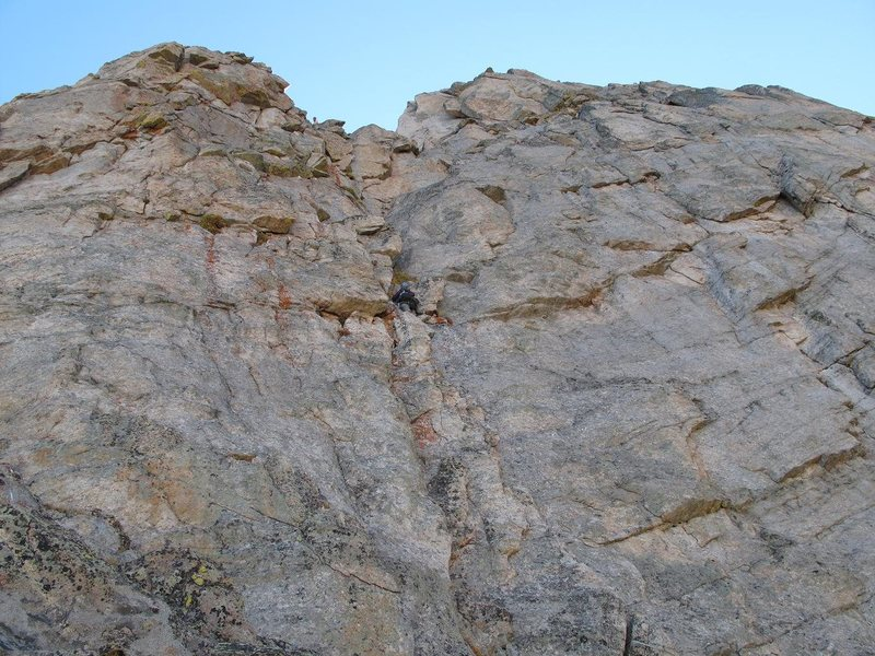 Rock Climbing Photo: A climber about half way up the crux pitch on Sep....