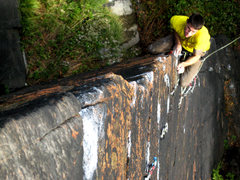Rock Climbing Photo: The pumpy technical crimps looom above as Justin f...