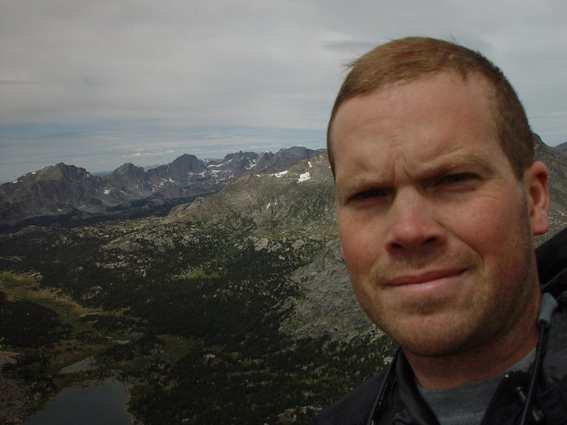 Self portrait on the Wolfs Head, Wind River Range, WY.