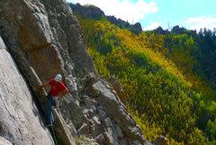 Rock Climbing Photo: Climbing the beautiful corner on pitch 3.