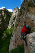 Rock Climbing Photo: Marc Ripperger on pitch 1, fists to fingers.