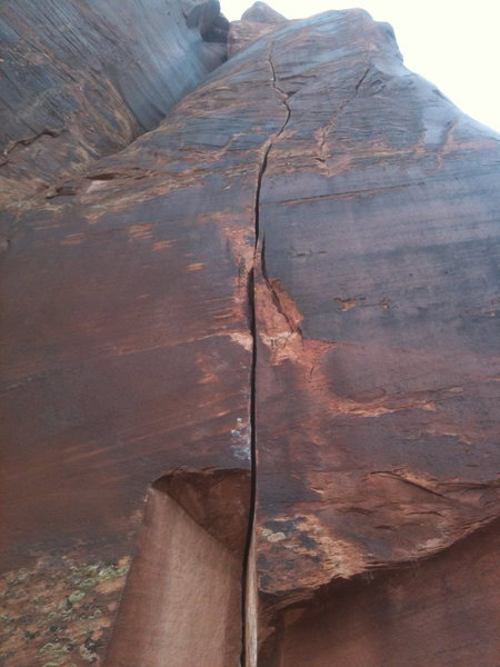 Unknown 5.11 at the Petrified Hornet Wall, Indian Creek, Utah.